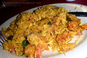 Fried shrimp with coconut and lemon peel (?) shreds
