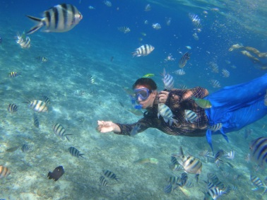 Snorkeling at Shimizu Island (nope, that's not me. It's my Czech boatmate)