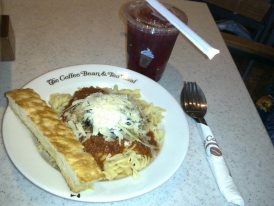 Lunch at Coffee Bean and Tea Leaf - Tomato Basil Pasta I think and some kind of tea