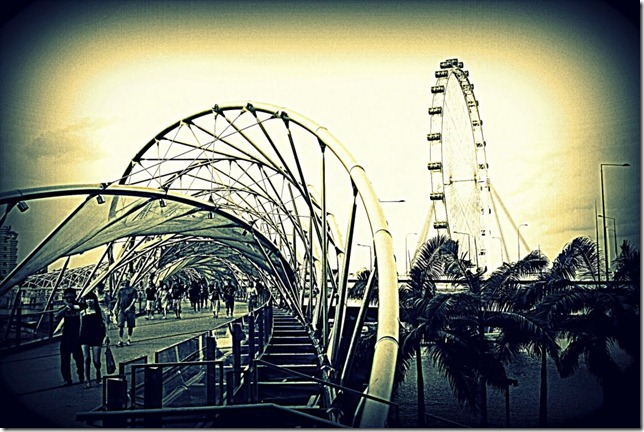 Helix Bridge and Singapore Flyer