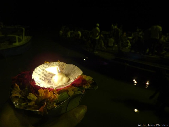 Varanasi Puja - Candle and Flowers