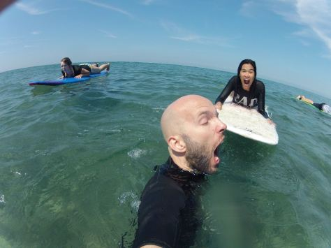 February - Being Silly while Surfing at La Union