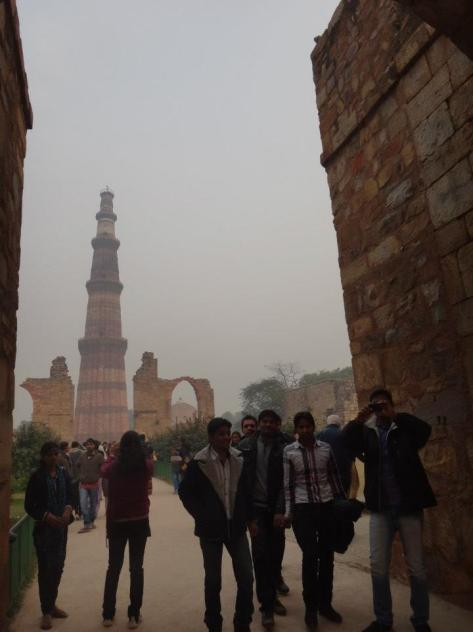 Qutb Minar and random Indian boys!