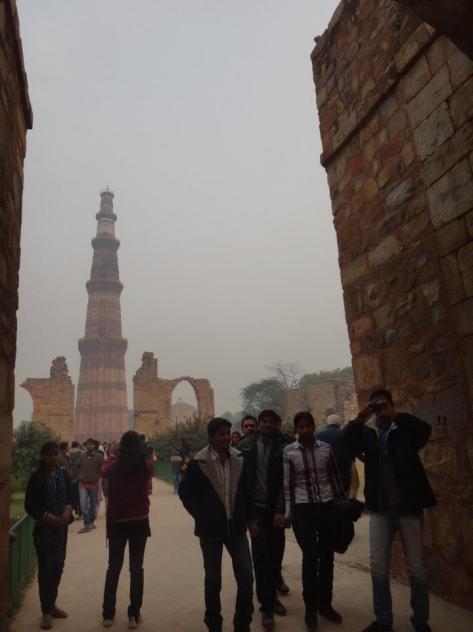 Qutb Minar and random Indian boys!