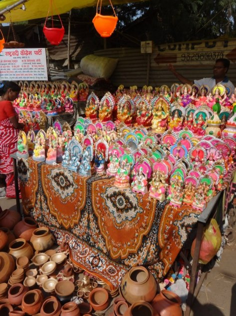 Idols and diyas sold on the street