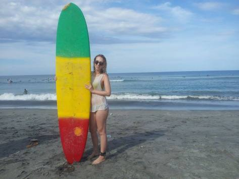 Surfer babe! (super mandatory surfing photo with your board!)