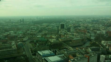 One of the many views (with explanations) from the top of the TV Tower (entry at 10 euros if with Berlin Welcome Card). There's also a restaurant -- a bit pricey but maybe worth it for extra view!