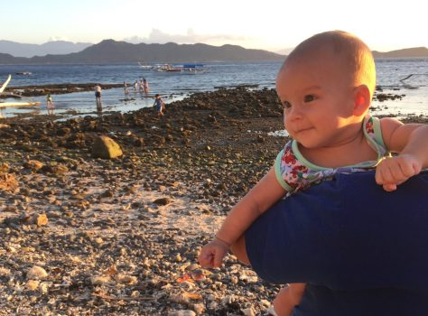 little Tara Freya, enjoying the morning sun by the Balayan Bay in Mabini, Batangas